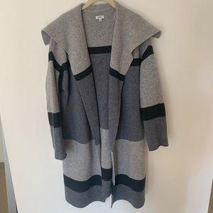 Vince Gray Colorblock Cashmere Wool Car Coat